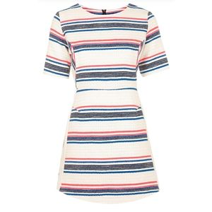Topshop Striped Jacquard Dress